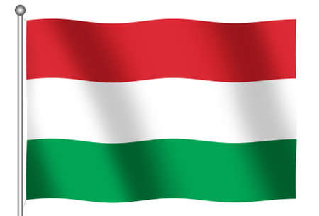 Flag of Hungary waving (With Clipping Path)
