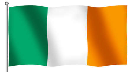 ireland flag: Flag of Ireland waving (With Clipping Path)