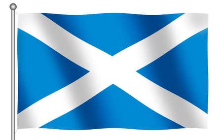 (とクリッピング パス) 手を振っているスコットランドの旗