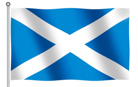 Flag of Scotland waving (With Clipping Path) Stock Photo