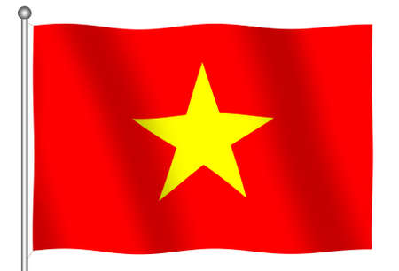 socialist: Flag of the Socialist Republic of Vietnam waving (With Clipping Path)