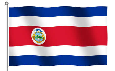 Flag of Costa Rica waving (With Clipping Path) 版權商用圖片