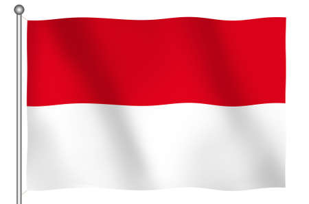 Flag of Indonesia Waving (With Clipping Path) Imagens