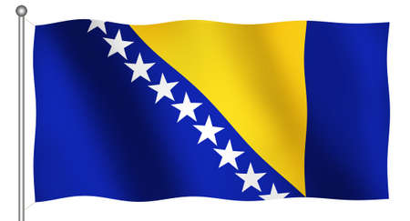 Flag of Bosnia herzegovina Waving (With Clipping Path)