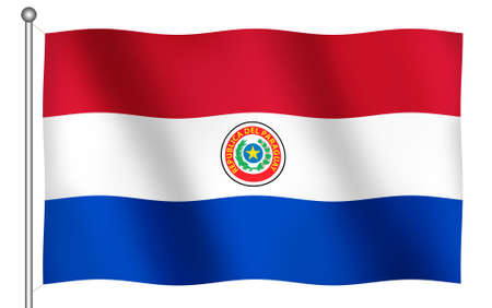 Obverse Flag of Paraguay Waving (With Clipping Path) 免版税图像