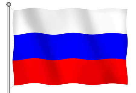 Flag of Russia Waving (With Clipping Path)