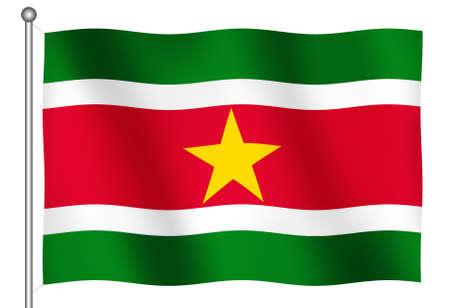 suriname: Vlag van Suriname Zwaaien (Met Clipping Path)