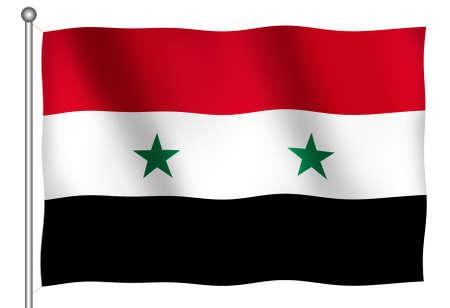 Vlag van Syrië Zwaaien (Met Clipping Path)