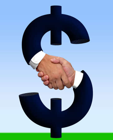 Handshake and money sign Stock Photo