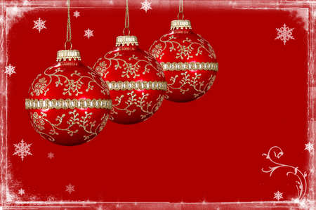 Christmas background with snow border and red balls Stock Photo - 531912