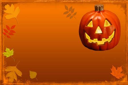 Jack-O-Lantern Frame with Fall leaves Stock Photo - 531921
