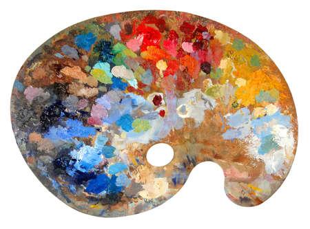 Artista de la paleta de colores con múltiples