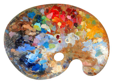 tavolozza pittore: Gamma di colori dellartista con i colori multipli Archivio Fotografico