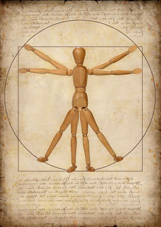 rendition: Modern graphical rendition of the Vitruvian man