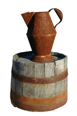 Rusty pitcher and barrel over white background (With Clipping Path) Stock Photo - 590513