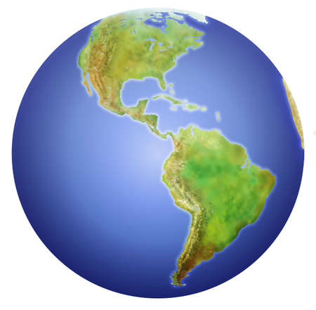 sphere: Planet Earth showing North, Central, and South America.