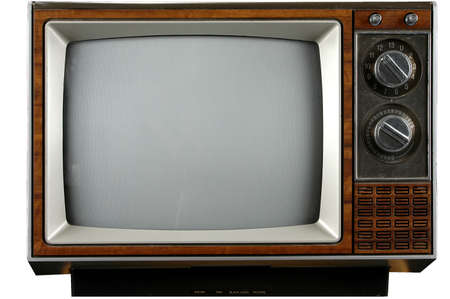 Old grungy Vintage TV with clipping path over a white background Stock Photo