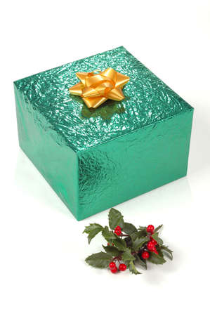 Christmas Gift with bow and holly Stock Photo - 624841
