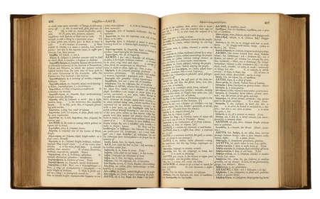 english text: Vintage Book with Greek and English Text (With Clipping Path)