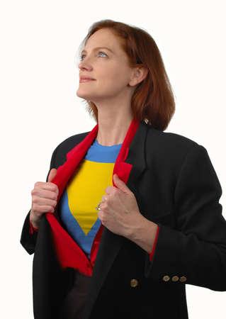 Super businesswoman reveals her true nature Stock Photo - 650713