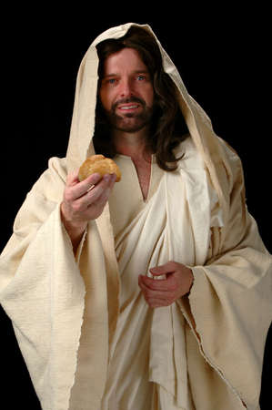 black jesus: Jesus, the Bread of Life represented by Jesus offering bread.