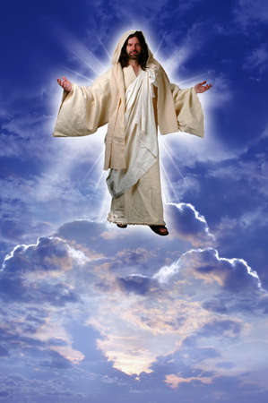 Jesus on a cloud taken up to heaven after his resurrection according to Acts chapter 1 Stock Photo