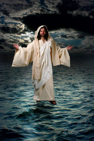 水の上を歩いてイエス 写真素材