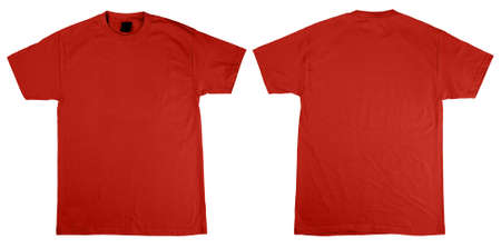 Red orange T-Shirts front and back. Simply plave your T-shirt design on top to get an idea of the final product. Both shirts include a Clipping Path Stock Photo - 763887