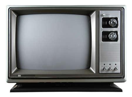 흰색 배경 위에 절연 손잡이와 레트로 텔레비전