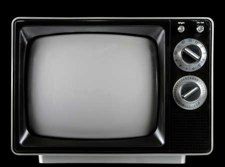 빈티지 텔레비전 손잡이와 검정 배경 위에 절연 단추. (클리핑 패스와 함께)
