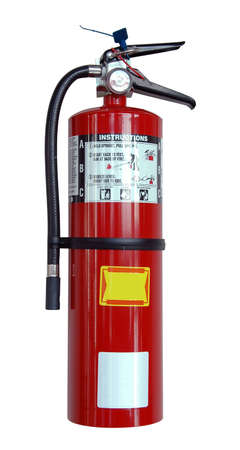 foam safe: Fire extinguisher with labels isolated over a white background
