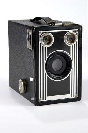 brownies: Old vintage box camera isolated over a white background. Stock Photo