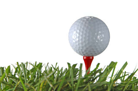 golfcourse: Close up of golf ball and grass isolated over a white background