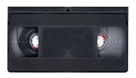 Retro Video tape without label isolated over a white background.