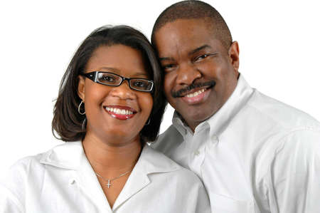 fourties: Portrait of a couple over a white background. Stock Photo