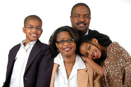 Family with formal attire over a white blackground
