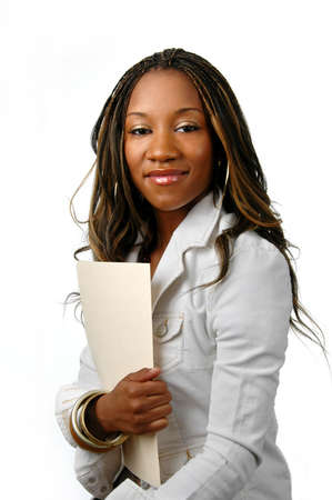 Young businesswoman with folder over a white background Stock Photo