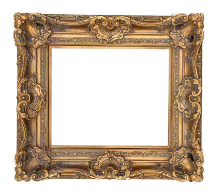 Antique gold frame osilated over a white background