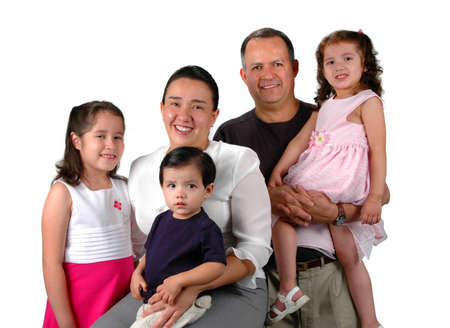Latin family smiling isolated over a white background