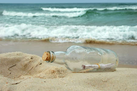 castaway: Message in a bottle washed on a distant shore
