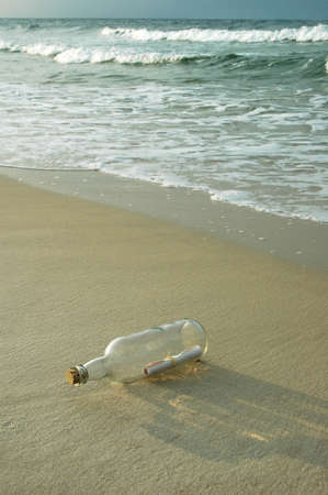 castaway: Message in a bottle on a shore