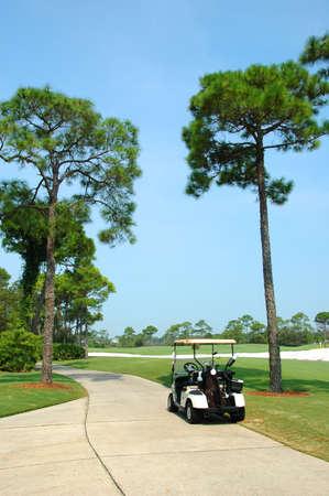 Golfbaan met winkelwagen op pad Stockfoto