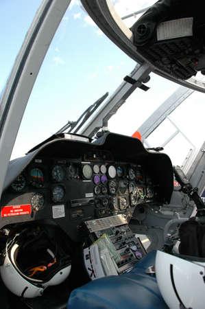 Instrumentation in medical helicopter cockpit photo