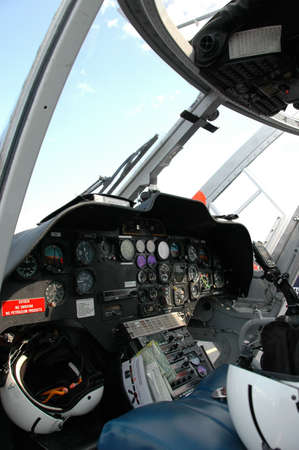 avionics: Instrumentation in medical helicopter cockpit Stock Photo