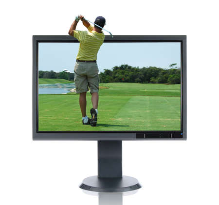 high tech: LCD monitor anf golfer isolated over a white background