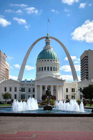 obtain: View of Saint Louis, Missouri with court house where Dred Scott sued to obtain his freedom in 1847 which led to the ultimate abolition of slavery.