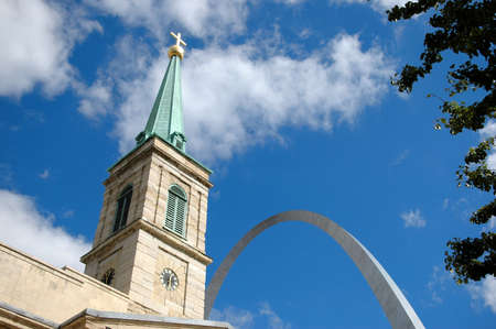 Saint Louis Old Cathedral with Arch in the background. Editorial