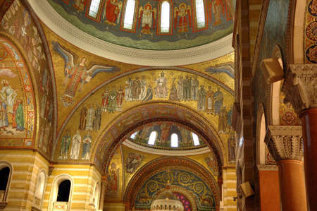 crucifiction: The Saint Louis Cathedral contains the largest mosaic collection in the world and covers 3,000 square feet. It contains 41.5 million pieces and over 7,000 colors. Editorial