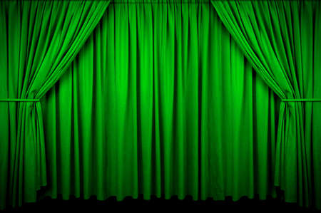 Las grandes Verde cortina con luz de spot y desapareciendo en la oscuridad.  Foto de archivo - 2654830