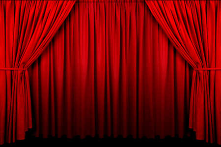 fading: Large red curtain with spot light and fading into dark. Stock Photo